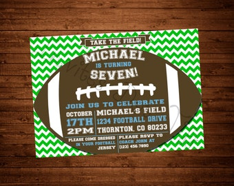 Football Themed Printable Birthday Invitation (You choose the colors!)