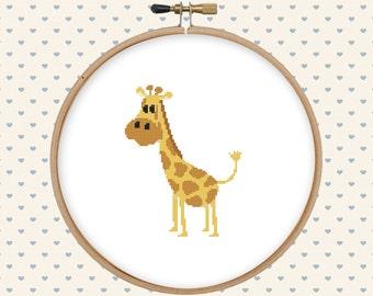 Cute giraffe cross stitch pattern pdf - instant download - cute animal pattern - easy cross stitch pattern - baby animal cross stitch