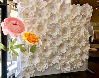 Paper flowers for wall images flower decoration ideas paper flower wall etsy handmade all white paper flower wall 8x8 mightylinksfo images mightylinksfo