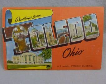 Vintage Mid Century Postcard Greetings from Toledo Ohio  Linen Finish