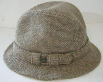 Vintage Wool Fedora Hat, Tan, Brown, Country Gentleman, Traveler, Medium