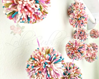 Pom Pom Garland Yarn Pom Poms Multi-Color Garland, Birthday, Party Garland, Nursery Garland, Baby, Bridal Shower 6 Ft.