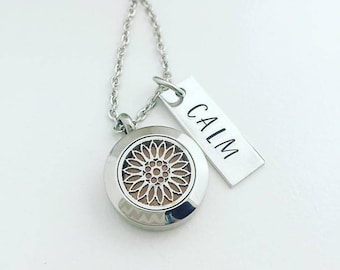 Sunflower Diffuser Jewelry - Aromatherapy Necklace - Stainless Steel Essential Oil Diffuser Necklace - Personalized Aromatherapy - Calm