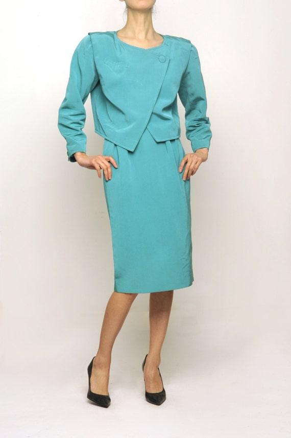 courreges 1970's Turquoise Blue Suit