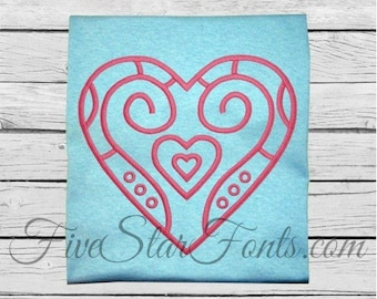 Art Deco Embroidery Heart Design