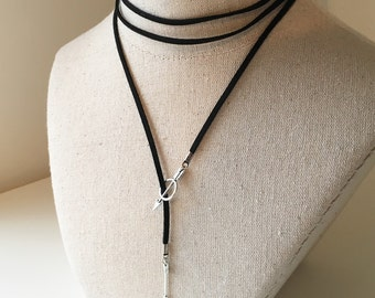 Bow and Arrow Choker, Adjustable Silver Bulls Eye Arrows Suede Chocker, Double Wrap Around Black Leather Necklace