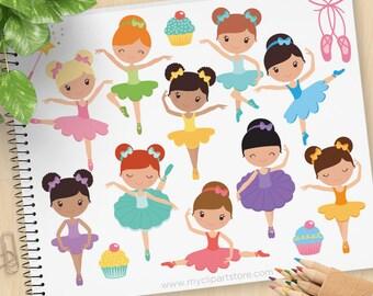 Little Ballerina Clipart, Ballet shoes, fairy princess, Prima Ballerina, Belle, Cinderella, Commercial Use, Vector clip art, SVG Files