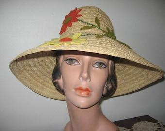 1960's-70's Natural Straw Wide Brim Bucket Hat!