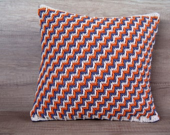 Cute crochet throw, cool blue orange pillow, cotton handmade pillowcase, standard european sham  14 x 14 (37 x 37 cm) ~  nursing room decor
