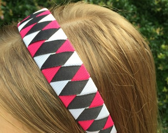 Hot Pink / Black / White Woven 1 Inch Headband