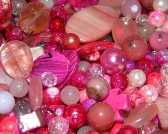 NEW Pink/Blush Bead mix 8/oz Premium Assorted Mixed Loose lot of Beads 6mm-20mm Glass, shell, lampwork, stone and gem