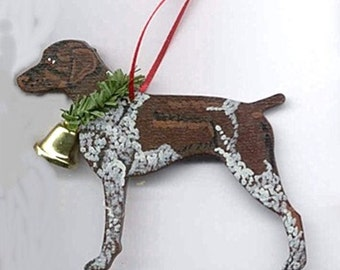 Hand-Painted GERMAN SHORTHAIR POINTER Liver Ticked Wood Christmas Ornament Artist Original....choose pine or candy cane design