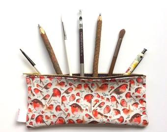 Robin, Pencil Case, Bird Pencil Case, Pencil Pouch, Make Up Bag, Pouch, Cosmetic Bag, Zipper Pouch, Bag, pencil bag, organiser, small bag,