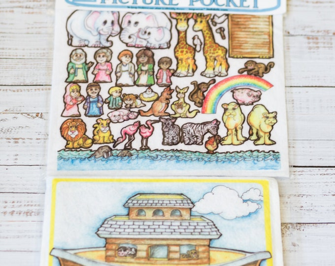 Flannel board set Noah's Ark 10 in - story picture pocket, felt boards, felt board pieces, boys and girls, quite toy, flannel boards