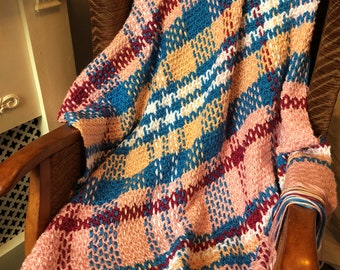 Crochet & Weave Pastel Pink Plaid Throw Pattern