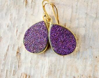Ultra Violet Purple Druzy Earrings Gold Earrings Teardrop Earrings Sparkly Earrings Dangle Purple Stone Geode Earrings