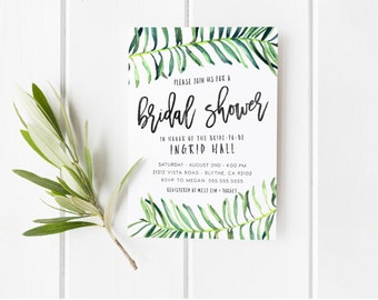 Tropical Bridal Shower Invitation, Summer, Palm Tree, Festival, Unique Printable Bridal Shower Invites [311]
