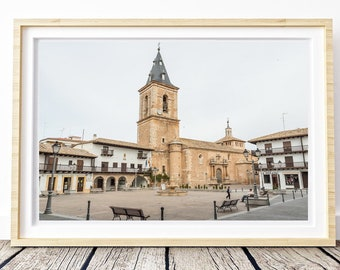 Main square of Spanish town. Tarazona de la Mancha. Landscapes of Spain. Sun and light. Printable image for download. From Spain with Love