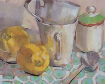Lemons Mugs SugarBowl Spoon, Original Oil Painting by Bridget Hobson, 8x8 inch, free domestic shipping