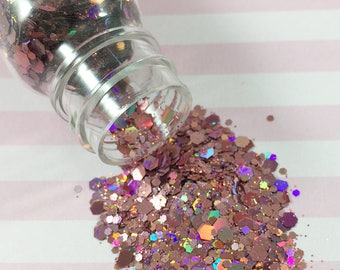 Chunky & Fine Dusty Rose Holographic Glitter Mix | Solvent Resistant Glitter for Nail Art and Crafts