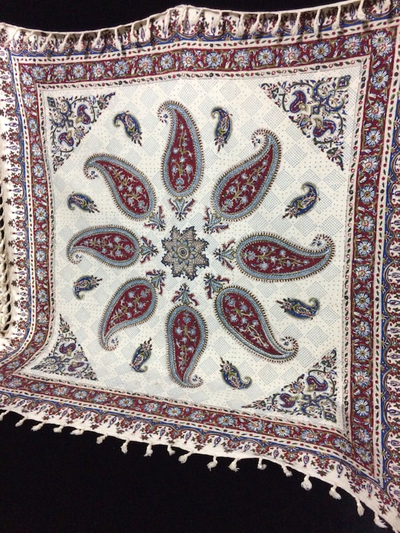 "Handmade tapestry | nice gift table top paisley design | wall decor | natural textile 39"" inches with tassels"