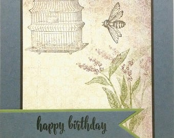 Happy Birthday Card, Handmade Card, Stampin Up Birthday Card, Greeting Card, Birdcage Card, Birthday Card For Her