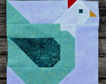 Mama Chicken Quilt BLOCK Pattern, PDF, Instant Download, modern patchwork, hen, animal, cute, farm