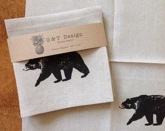Black Bear Screen Printed 100%Linen Dinner Napkin, Set of Four , Hostess Gift, Wedding Gift