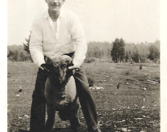 """Vintage Snapshot """"My Dad"""" Smiling Young Man Stands Astride Bighorn Sheep Found Vernacular Photo"""