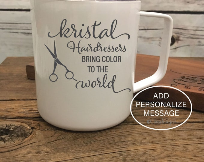Personalized Name Hairdresser Coffee Mug Hair Stylist Gift Idea Gift For Hairdresser Scissors Coffee Cup Double Insulation