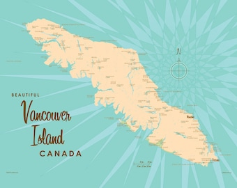 Vancouver Island, Canada Map - Canvas Print