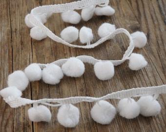 White pompom trim - TWO yards, snowball pom pom trim, white bobble trim for clothing, scarves, accessories, soft white bobble trim - 2 yds.