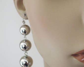 Statement Earrings - Silver Earrings - Ball Earrings - Long Earrings - Party earrings - handmade jewelry