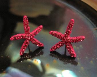 Pink Starfish Earrings - Stud Earrings - Rhinestone Starfish Earrings - Beach Earrings - Beach Wedding - Nautical Jewelry