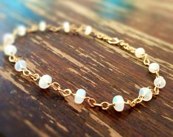 Opal Bracelet - Ethiopian Opal Jewelry - October Birthstone - Gemstone - Dainty - Gold Jewellery