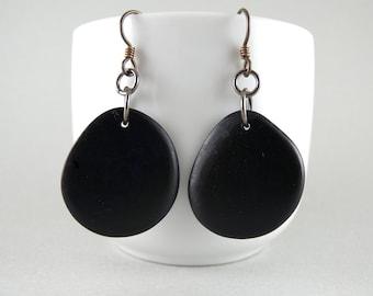 Sale~ Darkest Navy Ink Tagua Nut Eco Friendly Yoga Accessories Earrings with Free USA Shipping #taguanut #ecofriendlyjewelry