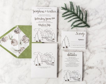 Calligraphy Mountain Wedding Invitation Suite Semi Custom Outdoor Invitation RSVP Card, Wedding Details, Special Occasion Invite, Watercolor