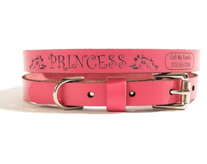 ID DOG COLLAR - Small - Princess Design - Personalized Leather Dog Collar