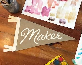 Felt Maker Pennant – tan flag with white screenprinted lettering