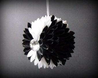"Hand Made Black and White Silk Ribbon Chrysanthemum Ornament Ball - Home Decor - Holiday Decor - 5"" diameter Ball - Ornament - Ribbon Ball"