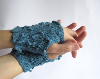 Fingerless Gloves for women. Hand knitted  blue hand warmers.