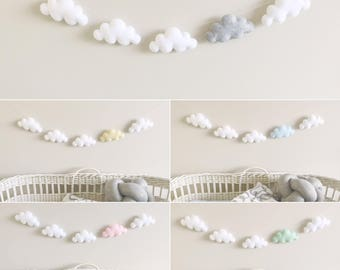 Felt Cloud Garland, Party Banner, Nursery Decor, Baby Shower Gift, Pink, Blue, White, Yellow and Mint, Bedroom Decor, Baby Shower Bunting