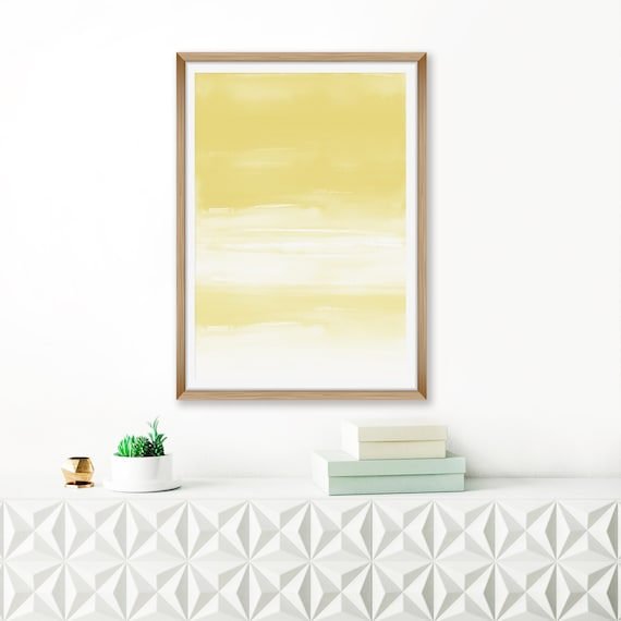 Yellow Abstract Art Ombre Watercolour Print Oversized Wall