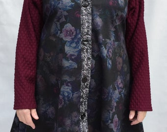 Artsy medium-weight knit coat different fabrics woman's