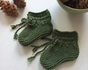 Willow Baby Booties in Moss - Made to Order
