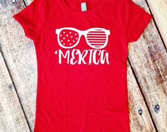 Girls' 'Merica Shirt  - 4th of July - Independence Day - America Girls T-shirt