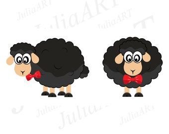 cartoon sheep black funny vector image