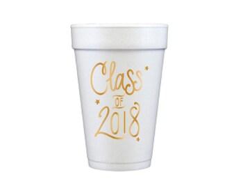 Graduation Foam Cups - GOLD INK (in-stock!)