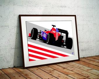 Alex Rossi Artwork [F1, Formula1, Motorsport, Carart, Design, Racing, Racecar, Gift, Fathers Day, Car, Mancave, For Him, USA, Flag]