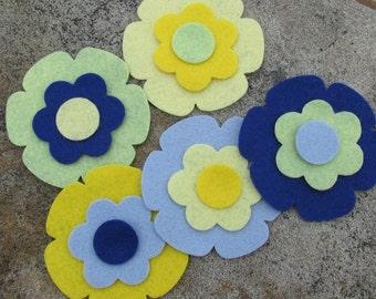 10 Wool Blend Felt Die Cut Applique Flowers - Cruiseline